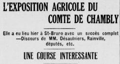 Titre d'un journal de l'époque annonçant l'exposition agricole et la course de chevaux