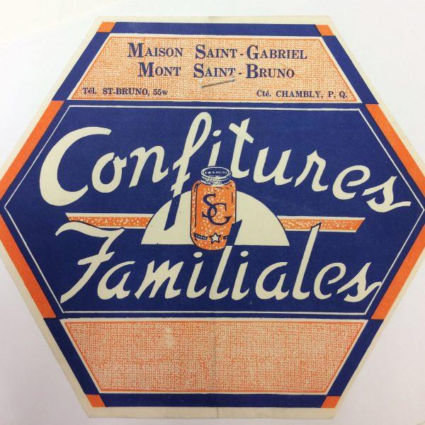 Étiquette de confitures produites et vendues à la Villa Grand Coteau