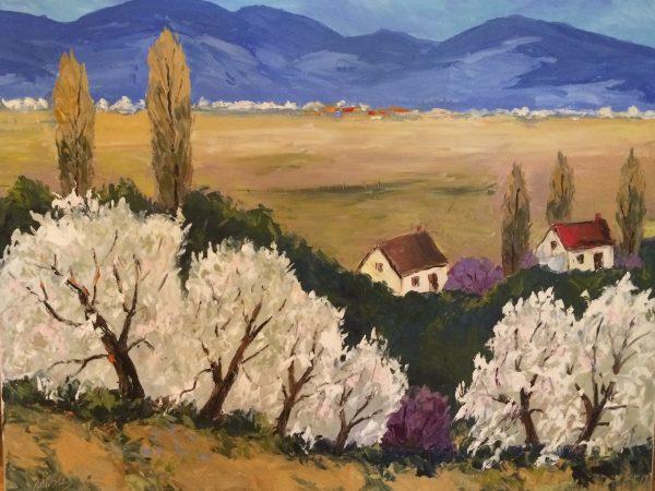 Les pommiers à Saint-Bruno, de Jean-Marc Blier madame Marie-Paule Vallée-Blier pour le don de cette oeuvre qui fait maintenant partie de la collection permanente de la Ville.